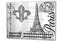 カレンダー Perpetual Calendar Travel Kitchen Eiffel Tower Paris Tin Metal Magnetic