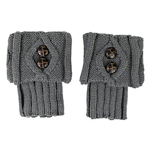 CHIC-CHIC Frauen Stulpen Socken Leg Warmer Beinwärmer Stiefel Häkeln Knit Stricken Herbst Winter (Grau)
