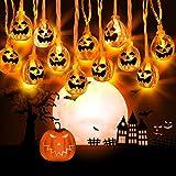Zenoplige Halloween Kürbis Deko Licht, 3M 20 LED Horror Pumpkin Lichter, Batteriebetrieben 3D...