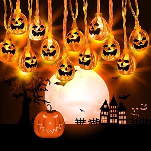 Zenoplige Halloween Kürbis Deko Licht, 3M 20 LED Horror Pumpkin Lichter, Batteriebetrieben 3D Kürbis Beleuchtung Halloween Deko Lichterkette für Party Garten Festival Herbstdeko