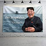 Mural Wall Art Live,Laugh,Love Flag Kim Jong Un Banner College Dorm Decor Indoor Bedroom Sign Heavy Wind with Brass Grommets,Outdoor Sign House Banner Polyester Yard Lawn Outdoor Decor 3x5 Ft
