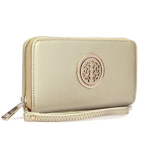 Dasein Lady Women Fashion Clutch Collection Zip Around Emblem Long Wallet Purse w/Removable Wrist Strap
