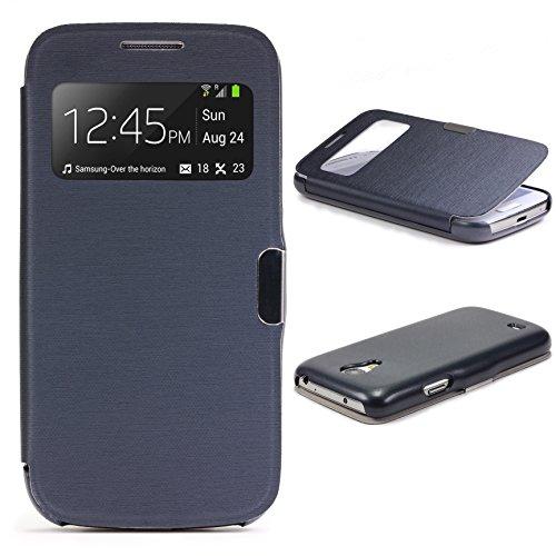 Urcover® View Case Handy Schutz-Hülle | Kompatibel mit Samsung Galaxy S4 Mini | Hart Kunststoff Dunkel Blau | Elegant Wallet Cover Sicht-Fenster | leichte Schale dünne Tasche