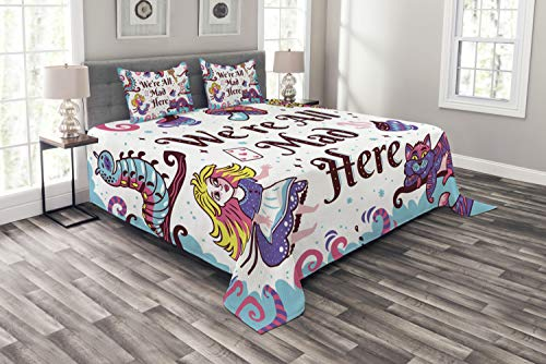 Ambesonne Alice in Wonderland Bedspread, We are All Mad Here Words with Caterpillar White Rabbit Cheshire Cat, Decorative Quilted 3 Piece Coverlet Set with 2 Pillow Shams, Queen Size, Purple Blue