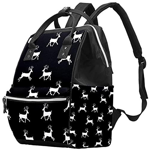 Large Capacity Diaper Bag Multi-Function Waterproof Mummy Backpack for Mom and Dad Christmas Reindeer