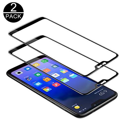 TECHKUN Vetro temperato per Xiaomi Mi A2 Lite, Pellicola Protettiva per Xiaomi Mi A2 Lite[durezza 9H][resistere ai Graffi][Niente Bolle]- Nero