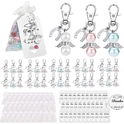 TOPLDSM Llavero de ángel de la guarda con 30 unidades, pequeños amuletos de la suerte para comunión, boda, bautizo, decoración de mesa con bolsa de organza, tarjeta de agradecimiento y confirmación