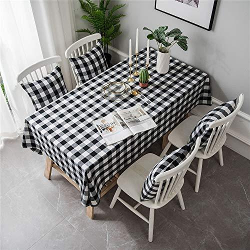 NOBRAND Clásico Negro/Blanco a Cuadros Mantel Rectangular Lino algodón Fiesta hogar Hotel Restaurante reunión decoración Mantel