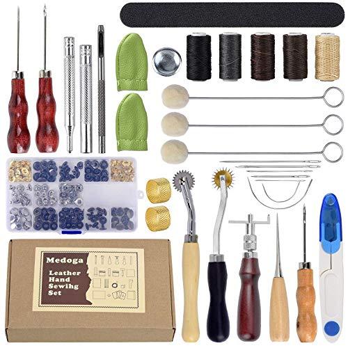 YuuHeeER Herramientas de trabajo de cuero Kit de herramientas de artesanía para costura talla silla de coser 26 piezas herramientas de cuero