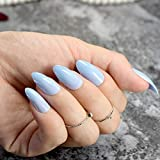 uñas postizas Stiletto Press On Nails Fashion Sky Blue Ladies Point Uñas postizas Tamaño medio Envoltura completa DIY Manicure Tips 24pcs / kit