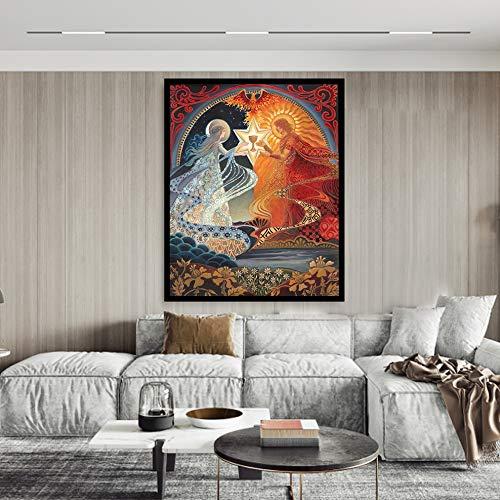 Geiqianjiumai goddelijke alchemie bruiloft mythologie boho godin bruiloft kaart poster afdrukken en afbeelding muurkunst frameloos schilderij