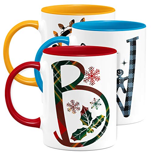 Christmas 2020 Initial 11 oz Coffee Mugs, 9 Different Plaid, Custom - Red/White - Xmas 2020 Gift, Personalized Mugs for Kids, Boys & Girls, Ceramic Family Coffee Mug, Taza Personalizadas