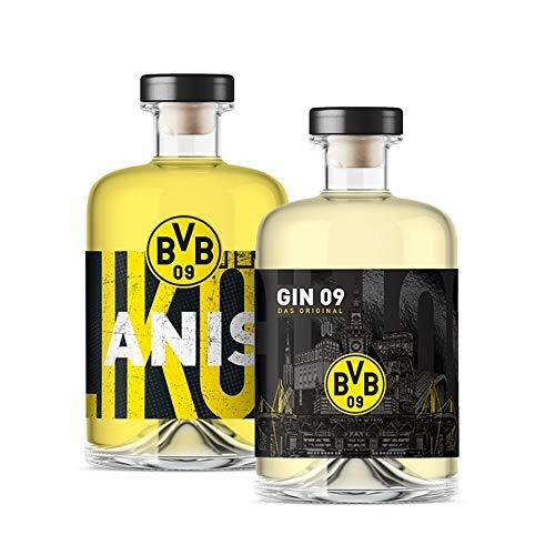Vorteilspaket - BVB Gin 09 - Das Original & BVB Anislikör (2 x 0,5l) - Dortmund Spirituosen im Geschenkset