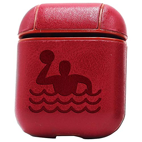 Water Polo Player Icon (Vintage Pink) Engraved Air Pods Protective Leather Case Cover - A New Class of Luxury to Your Airpods - Premium Pu Leather and Handmade Exquisitely by Master Craftsmen