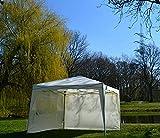 Defacto® Faltpavillon Gartenzelt Partyzelt Garten Pavillon 3x4m Faltbar PVC-Oxford -100% wasserdicht Ink Seitenteile Tragetascheund Befestigung Seilen und Nagel (Beige)