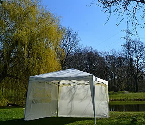 DeFacto Faltpavillon 3x3m Pavillon Gartenzelt Faltbar Inkl. 2 Seitenteile Faltbar Tragetasche Polyester UV Schutz 50+ Weiß