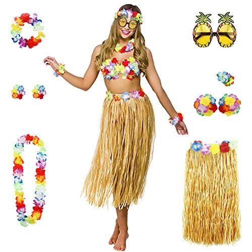 Yigoo Hawaii Hula Bikini kostüm Set Party Deko * 8 für Hula Luau Party- Halskette Armbänder Stirnband Blume BH Haarspange und Ananas Sonnenbrille Dekoration