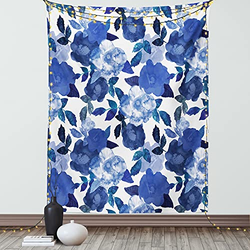 Ambesonne Flower Tapestry, Lively Watercolor Painted Simplistic Large Flowers and Leaves Vivid Spring, Wall Hanging for Bedroom Living Room Dorm Decor, 40' X 60', Blue White