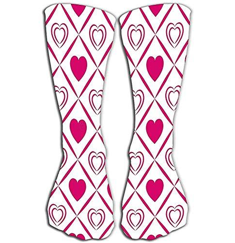 NGMADOIAN Vrouwen meisjes nieuwigheid over kalb kniehoge sokken grappige laarzen sokken hart Valentijnsdag sjabloon lichtend roze liefde harten symbolen