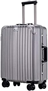 WHPSTZ Trolley Student Trolley Reinforcement Aluminum Frame Universal Wheel Travel Business Boarding Case Lock Box Trolley case (Color : Silver, Size : 22 inches)