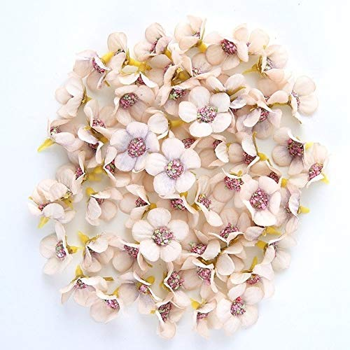 50pcs 2cm Daisy Flower Head Mini Silk Artificial Flowers For Home Wedding Decoration DIY Garland Headdress Fake Flowers Decor - Champagne