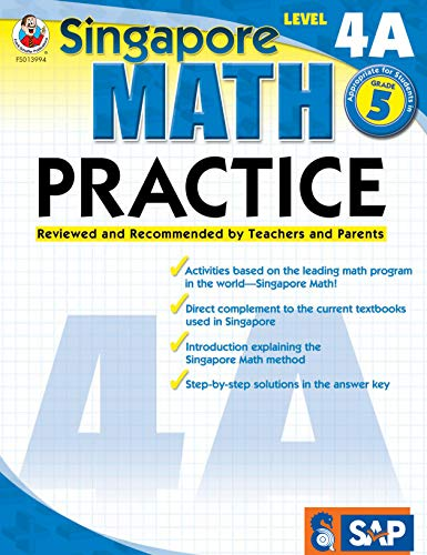 Singapore Math – Level 4A Math Practice Workbook for 5th Grade, Paperback, Ages 10–11 with Answer Key