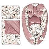 riduttore lettino neonato antisoffoco - riduttore per culla tessuto in pile di velluto (Rosa Velluto Set 5 Pz, 90x50 cm)