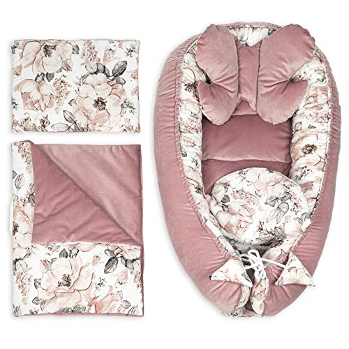 Babynestchen Set Neugeborene - Kuschelnest Baby Nestchen Bett Set 5- Teilig Kokon (Rosa Velvet Set 5-TLG, 90x50 cm)