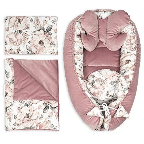 Reductor Cuna Bebe - Nido Bebe Recien Nacido Tela de Terciopelo y vellón Set 5 Piezas (Rosa Terciopelo Set 5 Piezas, 90x50 cm)