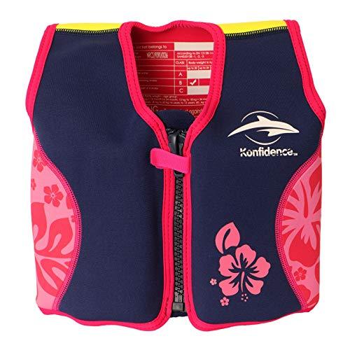 Konfidence Original Kinder Schwimmhilfe Neopren Weste pink - hibiscus 4-5 Jahre
