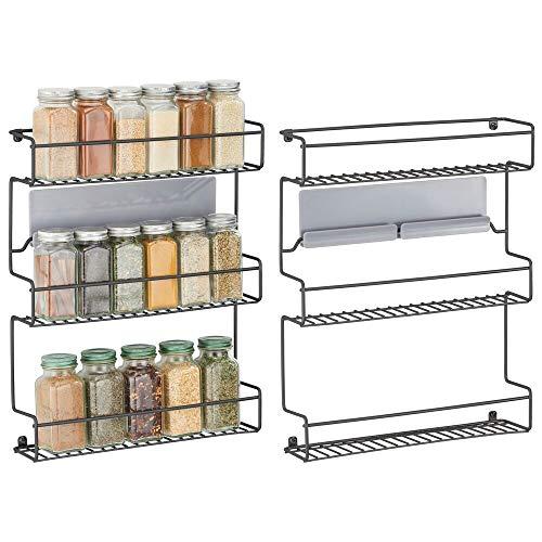 mDesign Juego de 2 especieros de cocina – Estantería metálica autoadhesiva con 3 niveles para montaje en pared – Ideal como organizador de especias para la cocina y la despensa – negro
