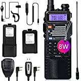 TIDRADIO UV-5R High Power Ham Radio Handheld Dual Band Two Way Radio with One More 3800mAh Battery Includes Full Kit Walkie Talkies