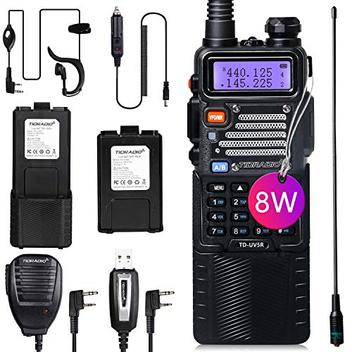 TIDRADIO UV-5R High Power Ham Radio Handheld Two Way Radio with One More 3800mAh Battery Includes Full Kit Upgraded Baofeng UV-5R Radio Walkie Talkies