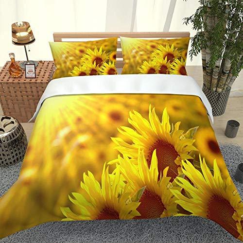 HAIZHA Påslakan och örngott för sovrummet W260 xL230cm Solig gul blomma sängkläder 100 % mikrofibertyg ett påslakan och två örngott3D-tryck mikrofiber påslakan sängkläder pojke och flicka vuxen tredel