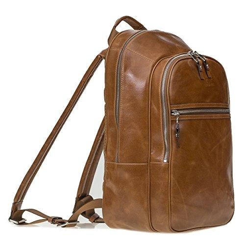 Solo Pelle Premium Lederrucksack/Backpack/Rucksack aus echtem Leder (Cognac Braun)