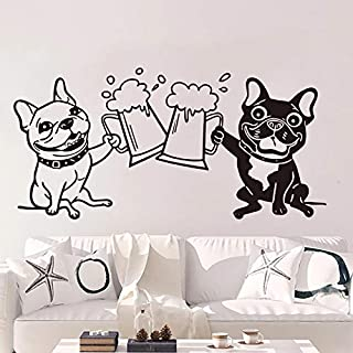 French Bulldog Wall Sticker Toast Drink Beer Kitchen Bulldog pet Friend Alcohol Beer Wall Decal Restaurant Decoration
