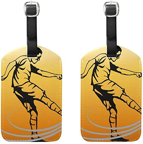 Play Football Luggage Tags Bag Travel Labels for Baggage Suitcase 2 Pack