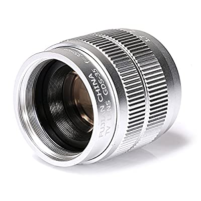 Silver Fujian 35mm f/1.7 CCTV Lens for Sony NEX E-Mount Camera & Adapter Bundle for Sony A7 NEX7 a6000 a5000 a3500 from risespray