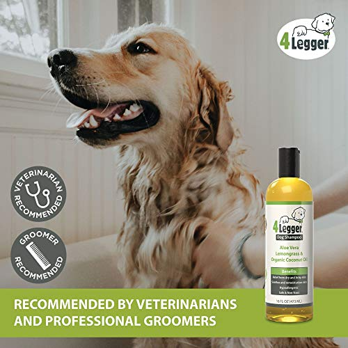4-Legger USDA Certified Organic Dog Shampoo - All Natural and Hypoallergenic with Aloe and Lemongrass, Soothing for Normal, Dry, Itchy or Allergy Sensitive Skin - Biodegradable - Made in USA - 16 oz