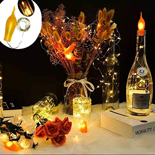 LED Flame Effect Lights 6.6 Ft 20 LED String Lights Waterproof Battery Operated Flickering Candle Fire Wine Bottle Cork String Light for Indoor Outdoor Christmas Party Decoration (Warm White)