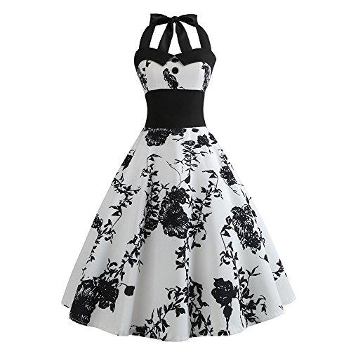 YWLINK Damen 1950er RüCkenfrei Vintage Abendkleid Elegant Neckholder Retro Cocktailkleid Elegant Klassisch Faltenrock Kleid Partykleid Blume Drucken Cocktailkleid(XL,A Weiß)