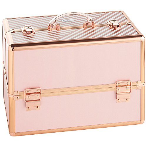 "Beautify Large Makeup Cosmetic Organizer Train Case 14"" Professional Aluminum Storage Box Striped Blush Pink with Lock and Rose Gold Handles"