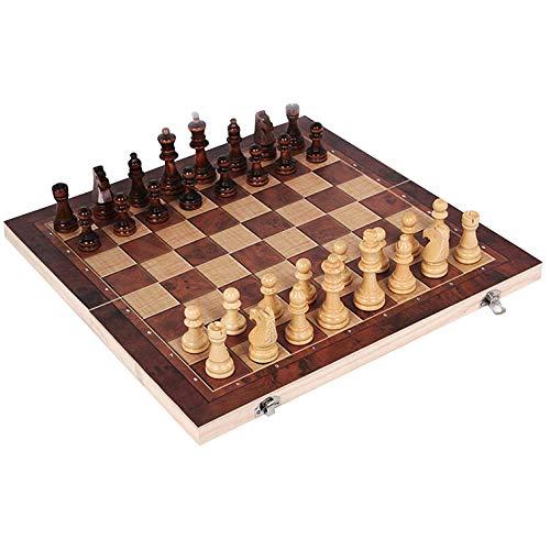 Juego de ajedrez de madera Juego de tablero plegable Juego de ajedrez internacional grande 3 en 1 Juego de ajedrez clásico Juego de tablero de ajedrez Juego de damas de backgammon (como en la imagen