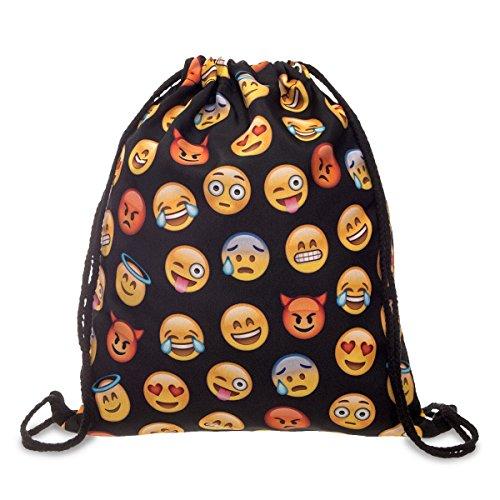 Beutel Emoji Black Schwarz Aufdruck Fullprint Tasche Gymsac Turnbeutel Jutebeutel Print Bag Fitness [010]