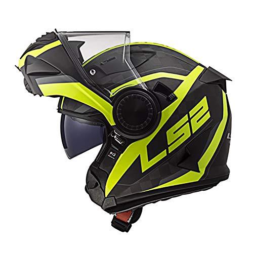 LS2 FF313 Vortex Carbon Casco Modulare Moto Doppia Visiera Scooter Motorino Casco Moto Donna e Uomo Carbon Hi Vis Yellow L (59-60cm)
