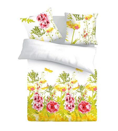 SoulBedroom Iris Fleurs 100% Coton Parure de lit (Housse de Couette 200x200 cm & 2 Taies d'oreiller 65x65 cm)