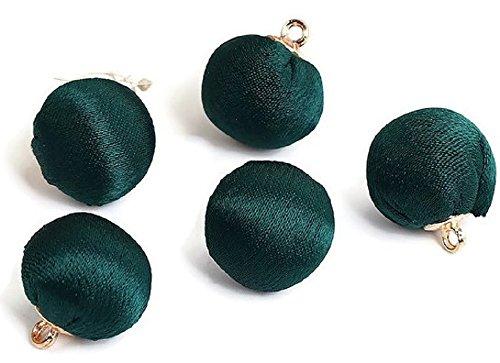 SiAura Material Lot de 10 perles rondes en métal de 15 mm avec œillet de 1,6 mm - Vert - Pour bricolage et enfilage