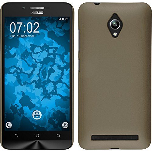 PhoneNatic Case kompatibel mit Asus Zenfone Go (ZC500TG) - Hülle Gold gummiert Hard-case + 2 Schutzfolien