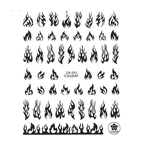 10Pc Fire Flame 3D Diy Nagelaufkleber Gold Weiß Schwarz Nail Art Folie Aufkleber Slider Aufkleber Winter Maniküre Dekoratives Zubehör-Schwarz