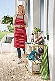 REDBEST Schürze Punkte, 100% Baumwolle rot Größe 75x90 cm - verstellbare Halsschlaufe, große aufgesetzte Tasche, Robustes, glattes Gewebe (weitere Farben) - 2
